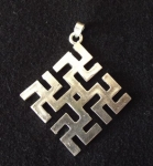 Cross of Laima with branches by Rolands Gudrups,  silver, size 1 1/2 x 1 1/2""