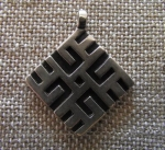 "Silver Pendant Cross of Laima with branches by Straupe   7/8"" x 7/8"""