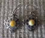 Sun Wheel Earrings With Amber Eye By Anda Ozola